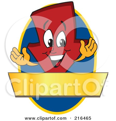 Royalty-Free (RF) Clipart Illustration of a Red Down Arrow Character Logo Mascot On A Blue Oval With A Gold Banner by Toons4Biz