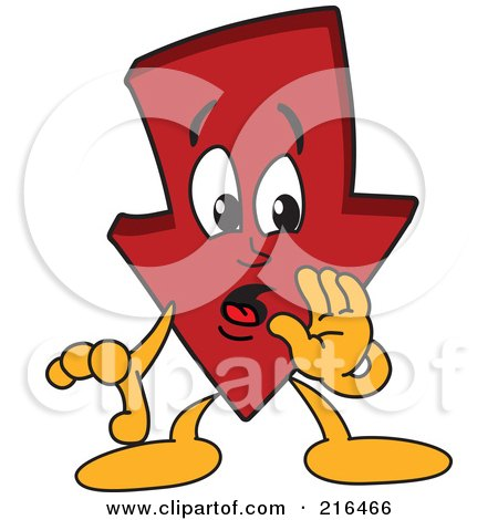 Royalty-Free (RF) Clipart Illustration of a Red Down Arrow Character Mascot Whispering by Toons4Biz