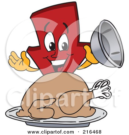 Royalty-Free (RF) Clipart Illustration of a Red Down Arrow Character Mascot Serving A Thanksgiving Turkey by Toons4Biz