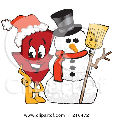Royalty-Free (RF) Clipart Illustration of a Red Down Arrow Character Mascot By A Snowman by Toons4Biz