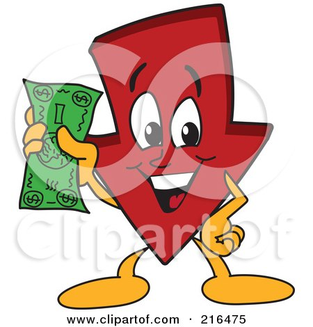 Royalty-Free (RF) Clipart Illustration of a Red Down Arrow Character Mascot Holding Cash by Toons4Biz