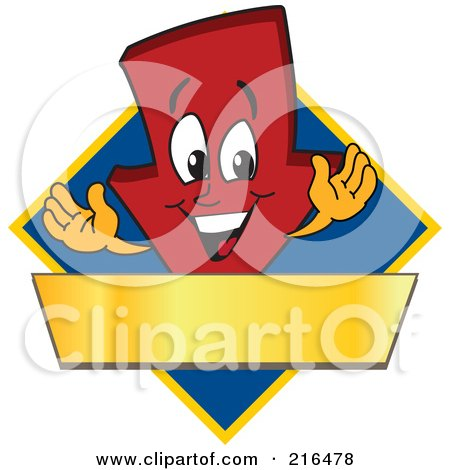 Royalty-Free (RF) Clipart Illustration of a Red Down Arrow Character Logo Mascot On A Blue Diamond With A Gold Banner by Toons4Biz
