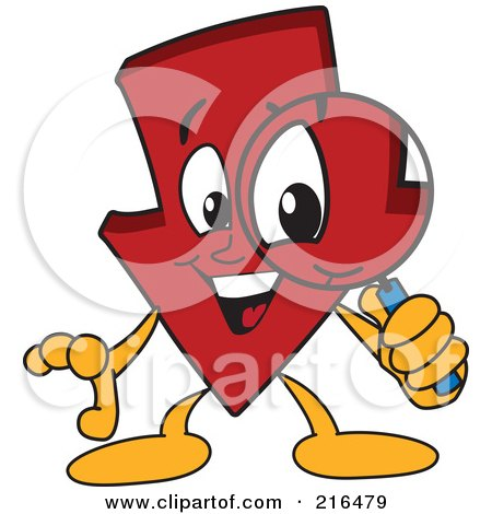 Royalty-Free (RF) Clipart Illustration of a Red Down Arrow Character Mascot Using A Magnifying Glass by Toons4Biz
