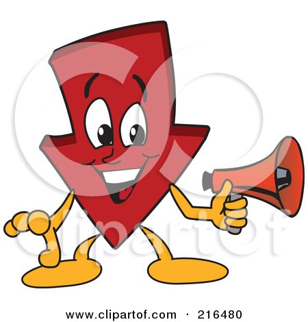 Royalty-Free (RF) Clipart Illustration of a Red Down Arrow Character Mascot Using A Megaphone by Toons4Biz