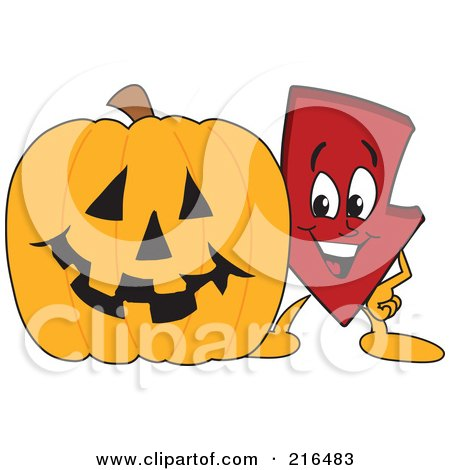 Royalty-Free (RF) Clipart Illustration of a Red Down Arrow Character Mascot By A Halloween Pumpkin by Toons4Biz