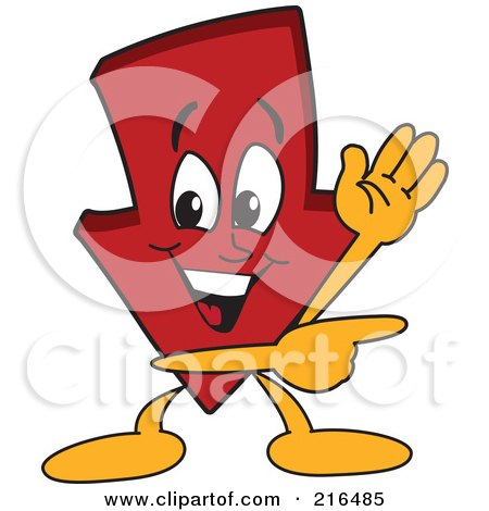Royalty-Free (RF) Clipart Illustration of a Red Down Arrow Character Mascot Waving And Pointing by Toons4Biz