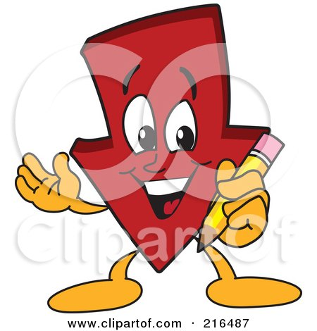 Royalty-Free (RF) Clipart Illustration of a Red Down Arrow Character Mascot Holding A Pencil by Toons4Biz
