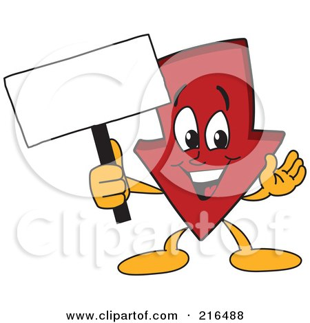 Royalty-Free (RF) Clipart Illustration of a Red Down Arrow Character Mascot Holding A Small Blank Sign by Toons4Biz