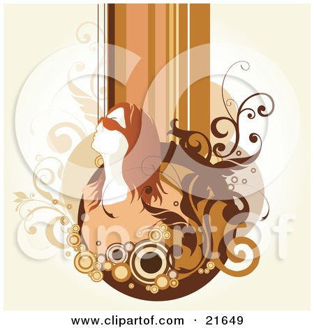 Royalty-free beauty clipart graphic of a woman with red hair,