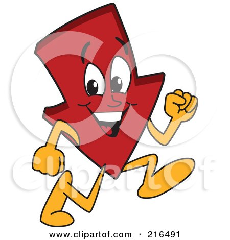 Royalty-Free (RF) Clipart Illustration of a Red Down Arrow Character Mascot Running by Toons4Biz