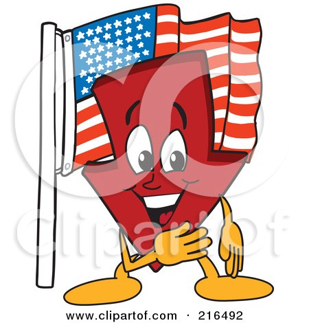 Royalty-Free (RF) Clipart Illustration of a Red Down Arrow Character Mascot By An American Flag by Toons4Biz