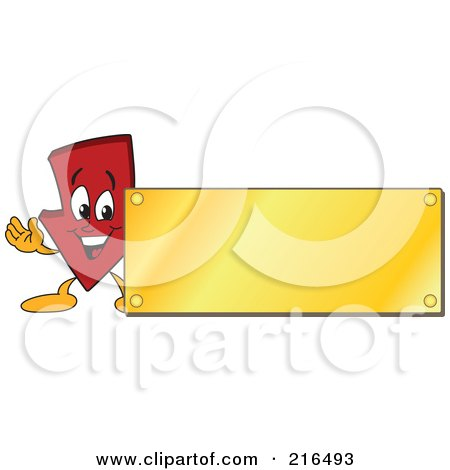 Royalty-Free (RF) Clipart Illustration of a Red Down Arrow Character Logo Mascot With A Gold Plaque Sign by Toons4Biz