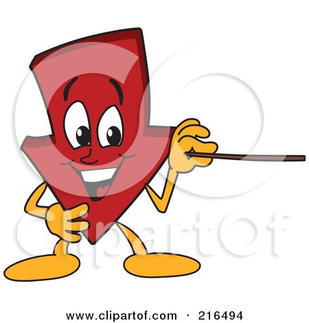 Royalty-Free (RF) Clipart Illustration of a Red Down Arrow Character Mascot Using A Pointer Stick by Toons4Biz