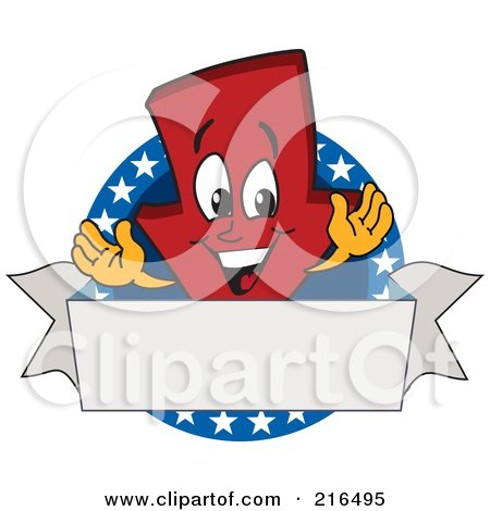 Royalty-Free (RF) Clipart Illustration of a Red Down Arrow Character Logo Mascot On A Patriotic Circle by Toons4Biz