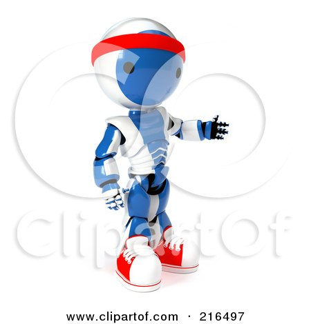 Royalty-Free (RF) Clipart Illustration of a 3d Fitness Blue And White Ao-Maru Robot Wearing Sneakers And A Head Band, On A White Background by Leo Blanchette