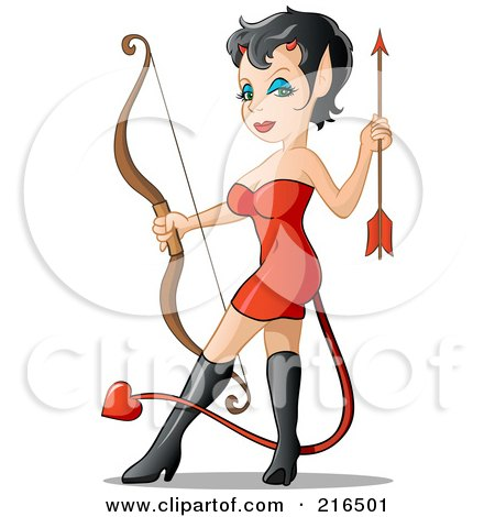 Royalty-Free (RF) Clipart Illustration of a Sexy She Devil In A Red Dress And Black Boots, Holding A Bow And Arrow by Holger Bogen