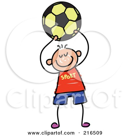 Royalty-Free (RF) Clipart Illustration of a Childs Sketch Of A Boy Playing Soccer - 5 by Prawny