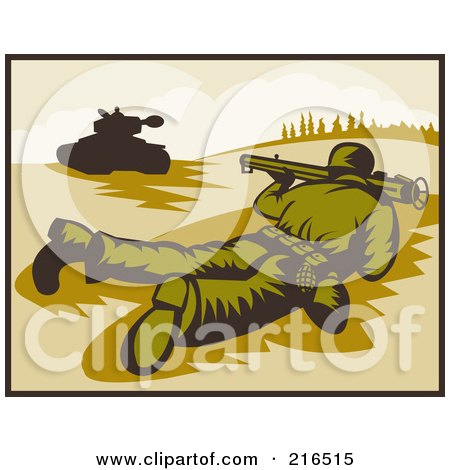Royalty Free RF Clipart Illustration Of A Soldier On The Ground Pointing A Bazooka At A Tank
