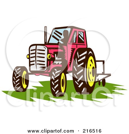 Royalty-Free (RF) Clipart Illustration of a Retro Red Tractor On Grass by patrimonio