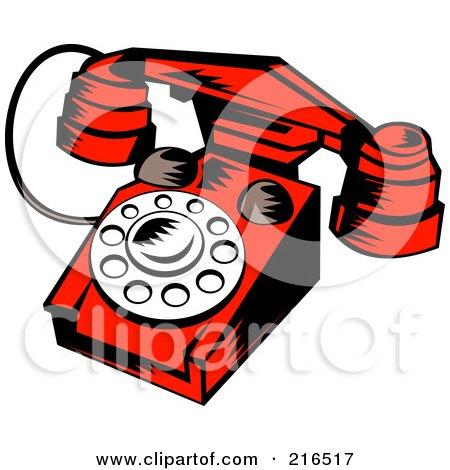 Royalty-Free (RF) Clipart Illustration of a Red Retro Telephone by patrimonio