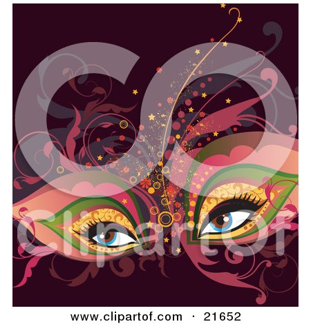 Woman's Blue Eyes Wearing An Elegant Theater Mask And Makeup With Vines Posters, Art Prints