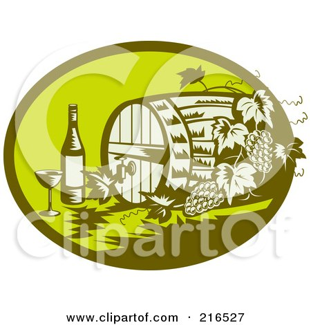 Royalty-Free (RF) Clipart Illustration of a Retro Green Wine Barrel, Bottle And Glass Logo by patrimonio
