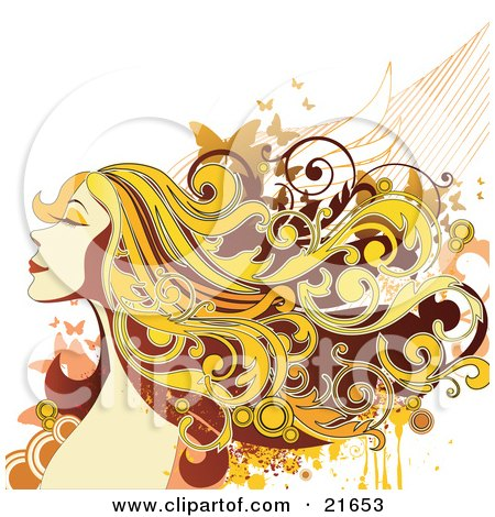 Clipart Picture Illustration of a Happy Smiling Blond Woman Closing Her Eyes, Her Hair Flying In The Breeze With Butterflies by OnFocusMedia