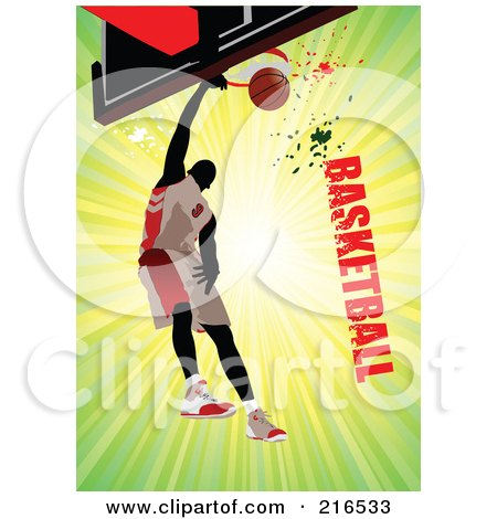 Royalty-Free (RF) Clipart Illustration of a Basketball Player Making A Slam Dunk On A Green Burst With Grungy Basketball Text by leonid