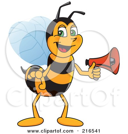 Royalty-Free (RF) Clipart Illustration of a Worker Bee Character Mascot Holding A Megaphone by Toons4Biz