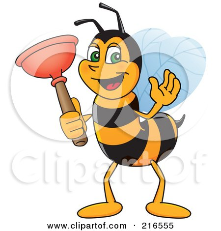 Royalty-Free (RF) Clipart Illustration of a Worker Bee Character Mascot Holding A Plunger by Toons4Biz