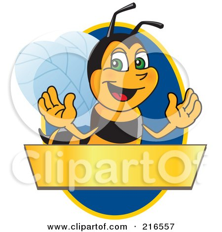 Royalty-Free (RF) Clipart Illustration of a Worker Bee Character Logo Mascot Over A Blank Banner On A Blue Oval by Toons4Biz