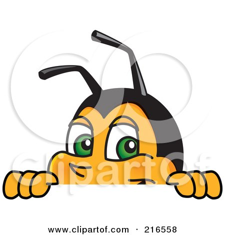 Royalty-Free (RF) Clipart Illustration of a Worker Bee Character Mascot Looking Over A Blank Sign by Toons4Biz