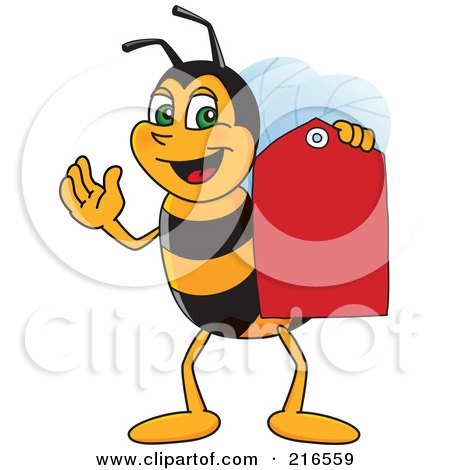 Royalty-Free (RF) Clipart Illustration of a Worker Bee Character Mascot Holding A Price Tag by Toons4Biz