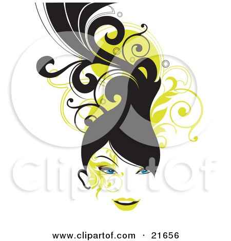 Clipart Picture Illustration of a Blue Eyed Woman With Long Black Hair, Smiling Over A Green Scroll And White Background by OnFocusMedia
