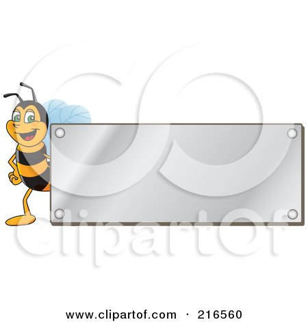 Royalty-Free (RF) Clipart Illustration of a Worker Bee Character Logo Mascot With A Silver Plaque by Toons4Biz