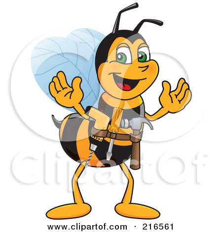 Royalty-Free (RF) Clipart Illustration of a Worker Bee Character Mascot Handyman by Toons4Biz