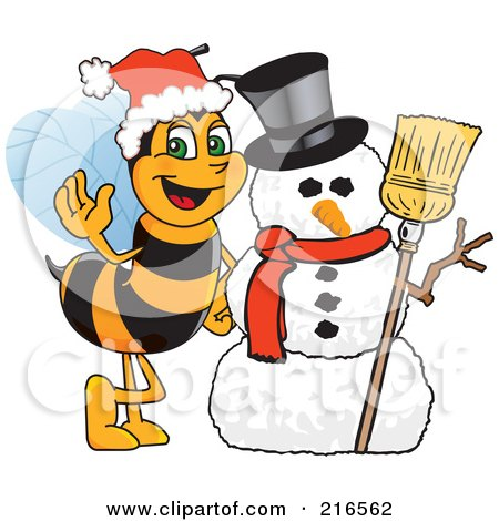 Royalty-Free (RF) Clipart Illustration of a Worker Bee Character Mascot By A Snowman by Toons4Biz