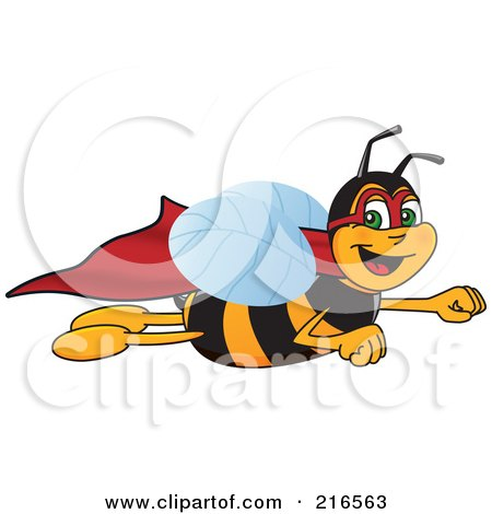 Royalty-Free (RF) Clipart Illustration of a Worker Bee Character Mascot Super Hero by Toons4Biz