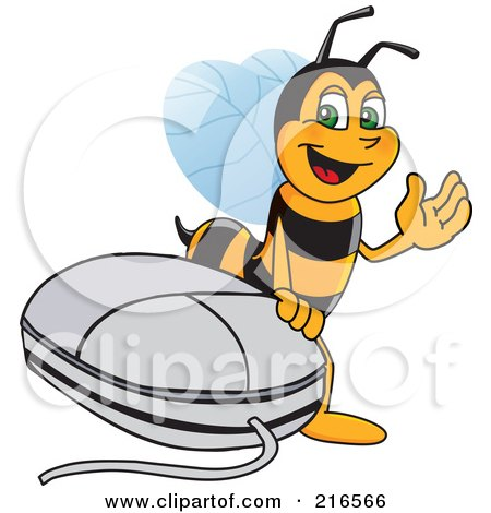 Royalty-Free (RF) Clipart Illustration of a Worker Bee Character Mascot By A Computer Mouse by Toons4Biz