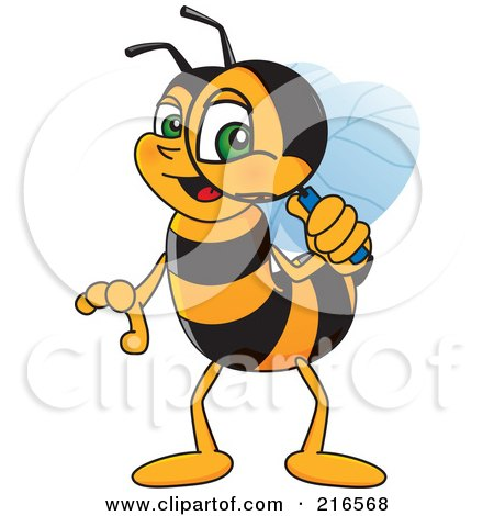 Royalty-Free (RF) Clipart Illustration of a Worker Bee Character Mascot Using A Magnifying Glass by Toons4Biz