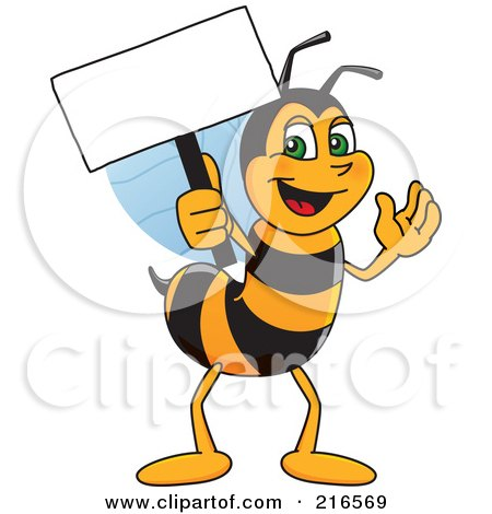 Royalty-Free (RF) Clipart Illustration of a Worker Bee Character Mascot Holding A Small Blank Sign by Toons4Biz