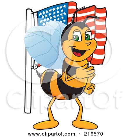 Royalty-Free (RF) Clipart Illustration of a Worker Bee Character Mascot With An American Flag by Toons4Biz
