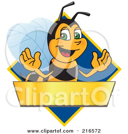 Royalty-Free (RF) Clipart Illustration of a Worker Bee Character Logo Mascot Over A Blank Banner On A Blue Diamond by Toons4Biz