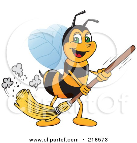 Royalty-Free (RF) Clipart Illustration of a Worker Bee Character Mascot Sweeping by Toons4Biz