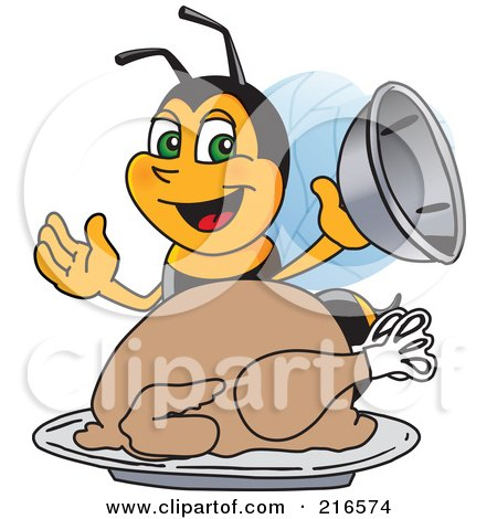 Royalty-Free (RF) Clipart Illustration of a Worker Bee Character Mascot Serving A Thanksgiving Turkey by Toons4Biz