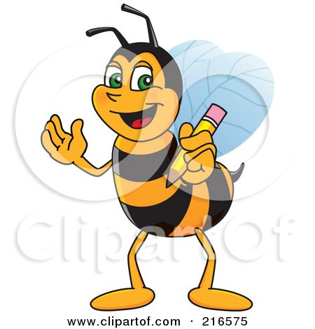 Royalty-Free (RF) Clipart Illustration of a Worker Bee Character Mascot Holding A Pencil by Toons4Biz
