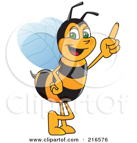 Royalty-Free (RF) Clipart Illustration of a Worker Bee Character Mascot Pointing Upwards by Toons4Biz