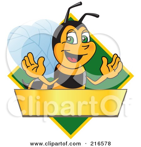 Royalty-Free (RF) Clipart Illustration of a Worker Bee Character Logo Mascot Over A Blank Banner On A Green Diamond by Toons4Biz