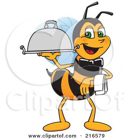 Royalty-Free (RF) Clipart Illustration of a Worker Bee Character Mascot Serving A Platter by Toons4Biz