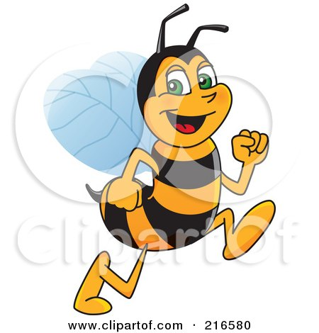 Royalty-Free (RF) Clipart Illustration of a Worker Bee Character Mascot Running by Toons4Biz